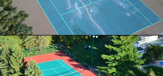 reconstruction de la surface d un terrain de tennis ciment turgeon pour tous vos besoins en. Black Bedroom Furniture Sets. Home Design Ideas